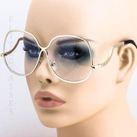 70's Vintage Retro Oversized Large Round Lenses Gold Frame Women Big Sunglasses
