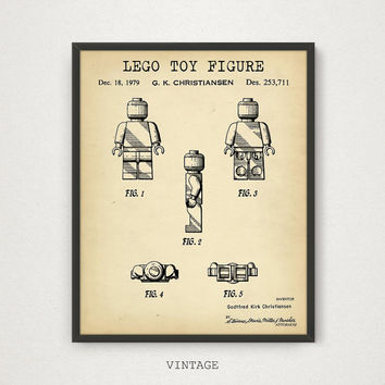 LEGO Patent Printable, Lego Poster, Lego Toys, Kids Room Wall Art, Lego Man Print, Nursery Decor, Digital Download, Blueprint, Chalkboard