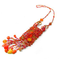 Red, Orange, Yellow boho necklace - freeform beaded jewelry - bohemian necklace  -OOAK