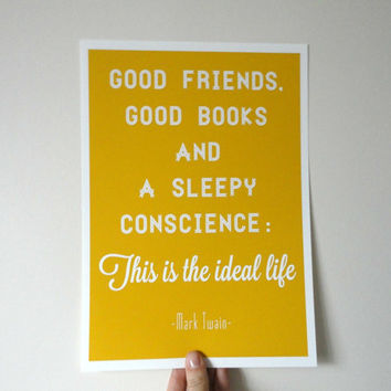 Typography Art Print Good Friends Good Books A4 Archival Matte in Mustard Yellow