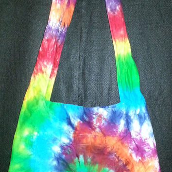 Hand Dyed Multi Color Tie Dye Shoulder Bag with 2 pockets | Cotton