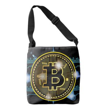Cool Bitcoin Logo with Graph Cross body Bag