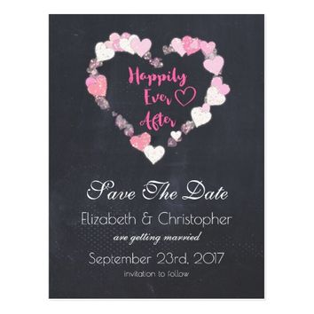 Happily Ever After Pink Hearts Save the Date Postcard