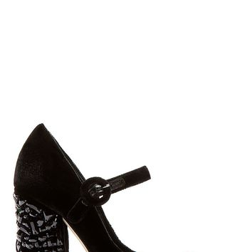 Dolce And Gabbana Black Crystal Accent Velvet Heels