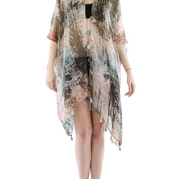 Green Distressed Print Sheer Cover Up Poncho