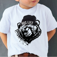 'HUG LIFE' Organic Grizzly Tee in WHITE-NEW SIZES AVAILABLE!