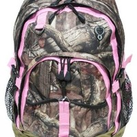 "Mossy Oak 17"" Backpack Women's Girls PINK TRIM Camo Back to School or Hunting"