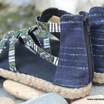 Boho Womens Sandals Gladiators In Sage Green Hmong Embroidery And Indigo Batik Summer Shoes Isadora