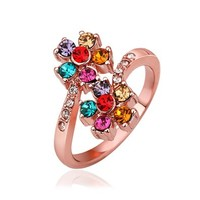 MLOVES Women's Classical Bright Elegant Diamanted Flower Decorated Ring