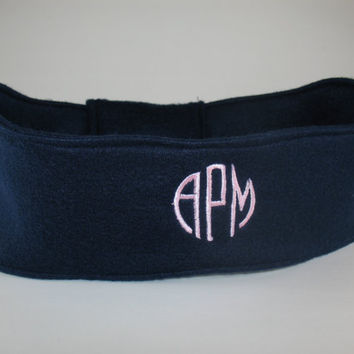 Monogrammed Fleece Head Warmer - Circle Block