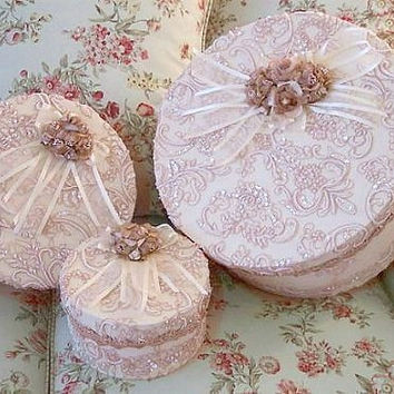 Set of 3 Beaded Lace Boxes