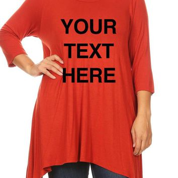 Create Your Own Text – Women's Solid Relax Fit Round Neck 3/4 Sleeve Tunic Tops for S ~ 3XL