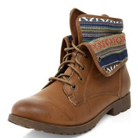Tan Aztec Knit Cuff Lace Up Ankle Boots