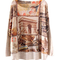 Brown French Scenery Print Sweater