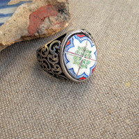 Portugal Antique Replica Ring- SINTRA Red, Green and Blue