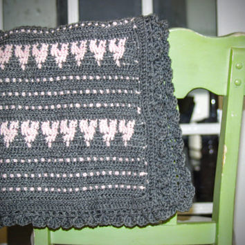 Crocheted Baby Blanket, Baby Girl Blanket, Baby Shower Gift, Grey and Pink Hearts and Ruffles