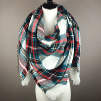 White, Green and Red Tartan Blanket Scarf