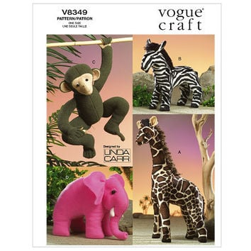 STUFFED ANIMAL PATTERN Giraffe Monkey Zebra Elephant Toy Animal Diy Nursery Child's Room Gift Idea Vogue 8349 UnCUT Craft Sewing Patterns