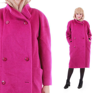 Magenta Mohair and Wool Coat 80s 90s Vintage Winter Outerwear Minimalist Chic Unique London Fog Made in the USA Womens Size Large XL