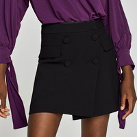 CROSSED MINI SKIRT WITH BUTTONS