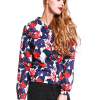 Multicolor Floral Long Sleeve Bomber Jacket