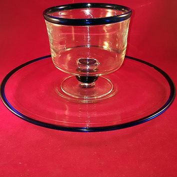 Mexico Blown Glass Serving Plate And Matching Bowl