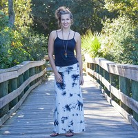 Maxi  Skirts:  Small  Black  &  White  Tie-Dye  Maxi  Skirt  From  Natural  Life