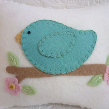 Felt Bird Pillow Penny Rug Applique Bird Baby's Room Decor Pincushion