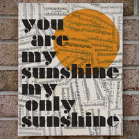 You Are My Sunshine - Canvas Wall Art - Children's room / nursery art