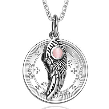 Archangel Michael Sigil Amulet Magic Powers Angel Wing Charm Pink Cats Eye Pendant 18 Inch Necklace