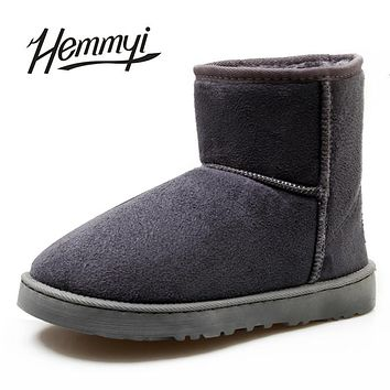 Hemmyi 2017 new unisex winter boots for women warm suede ankle boots botas Plus size 35-45 Australia ug classic style snow boots