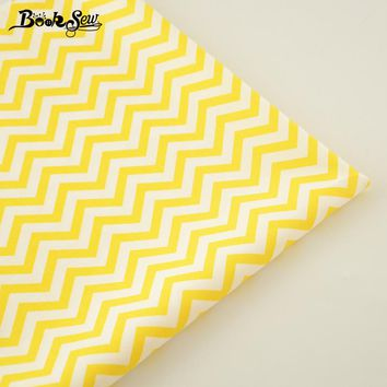 100% Cotton Fabric Home Textile Yellow Waves Designs Patchwork Quilting Sewing Cloth Craft Bedding Decoration Dolls Dress Tissue