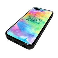 Apple iPhone 5C 5 C Case Cover Be Happy Watercolor DESIGN BLACK RUBBER SILICONE Teen Gift Vintage Hipster Fashion Design Art Print Cell Phone Accessories