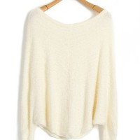 White Cropped Mohair Knit Tops with Boating Neckline