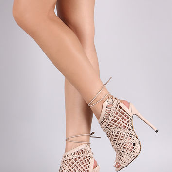 Liliana Strappy Weaved Peep Toe Back Lace-Up Heel
