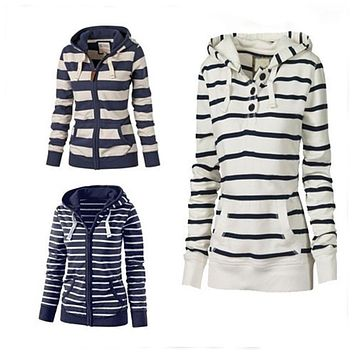 Pullover Drawstring Stripes Zipper Hoodie