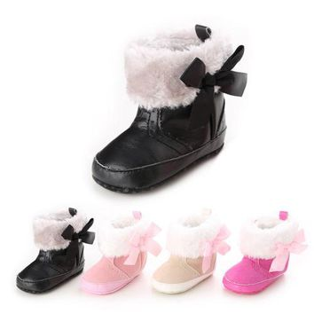Newborn Infant Toddler Baby Girl Shoes Boots Snow Crib Shoes Warm Cotton Bow Cute Boots Booties Baby Girls