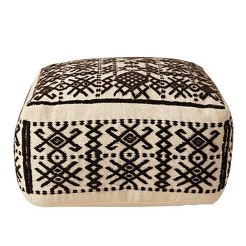 Wool Hand-Woven Pouf, Black/Natural