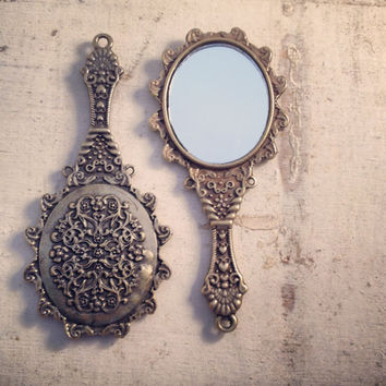 1 Pc Mirror Charm Antique Bronze Charm Small Charm Victorian Mirror Charms Vintage Style Pendant Charm Jewelry Supplies