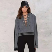 Women Stripe V-Neck Bandage Hooded Long Sleeve Thickened Short Sweater Tops