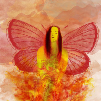 Fire Fairy Original Art Print