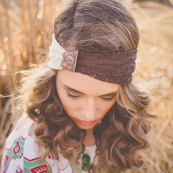 Unique,Twisted,turban hippie,head wrap,head band,hair band made of lace and cotton