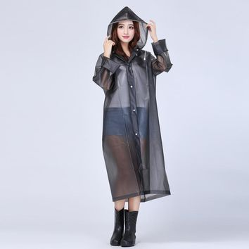 Cheap Sale Women Long Jacket Semi Transparent Waterproof Women Hooded Rain Coat EVA Friendly Women Ponchos Jackets
