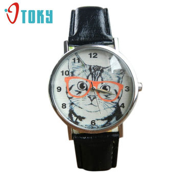 Excellent Quality Top Brand Cute Cat Pattern Watches Womens Girl Leather Band Analog Quartz WristWatch Vogue relogio feminino