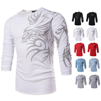 Cool Men long Sleeve T-Shirts with Tribal design