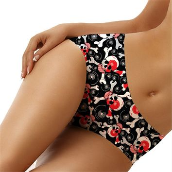 Colorful Underpants Plus Size Women 3D Skull Printed Panties Mid Waist Briefs Lingerie Underwear