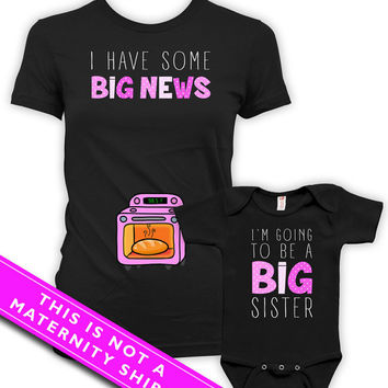 Pregnancy Announcement Shirt Big Sister Announcement Shirt Mom Gifts I Have Some Big News I'm Going To Be A Big Sister Bodysuit MAT-770-771