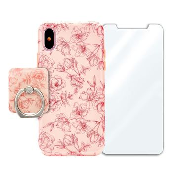 Nude Red Chrome Floral Bundle Set