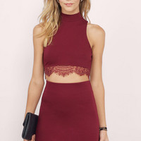 Mock On Lace Bodycon Set $48