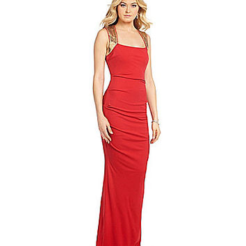 Calvin Klein Sequined Ruched Back-Keyhole Gown - Watermelon